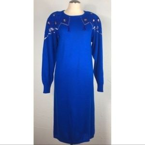 Vintage 80s maxi sweater dress sequin blue small